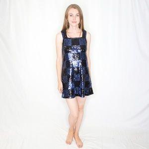 ALICE + OLIVIA Sequin Checker Mini Dress S 0746